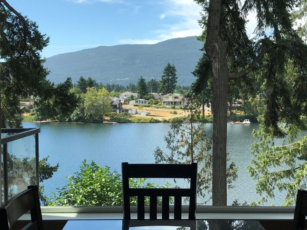 View of Long Lake from Lakefront Terrace rental home in Nanaimo. BC