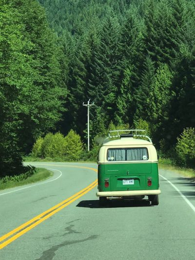 Drive to Nanaimo VW van on forest road