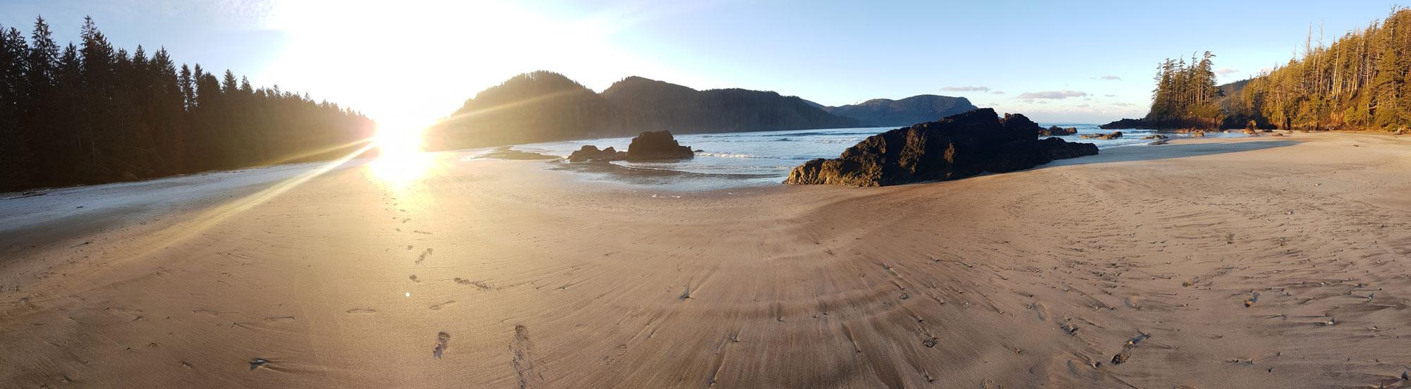 West Coast Canada beach at sunset