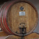 Large wood wine barrel at local vineyard