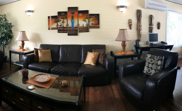 Lakeview executive rental home living and dining area